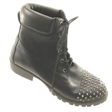TORRID Hiking Boots Black Studded 13W Padded Top Combat Military Ankle Shoes EUC