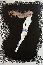 Erte 1982 NUMERALS - SEVEN 7 - MASKED NUDE FLYING BIRDS - Art Deco Print Matted