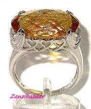 14K WHITE GOLD CHECKERBOARD-CUT CITRINE & DIAMOND HEART RING