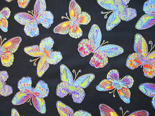 Butterfly Glitter Monarch Black Butterflies Cotton Fabric FQ