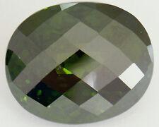 Stunning 28x23.5 mm 132.2 cts Oval Fancy Checkerboard Deep Chrome Green CZ AAAAA