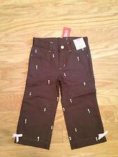 Nwt Gymboree Tulip Garden Brown Capri Pants Embroidered 6 Slim