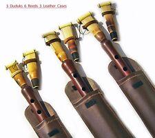 3 Armenian PRO Duduk +6 REEDS 3 Leather Case DUDEK Professional Oboe Flute Mey