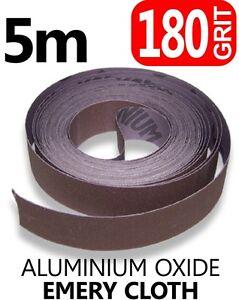 5m 180 GRIT Emery Cloth Aluminium Oxide Sanding Paper Sheet Metalworking 25mm