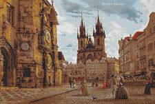 WALL JACQUARD WOVEN TAPESTRY Old Prague View - CASTLE PICTURE - VICTORIAN SCENE