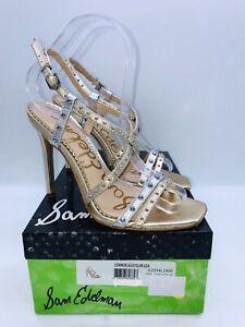 Sam Edelman Women Lennox Heeled Studded Sandals Gold /Silver Metallic Leather