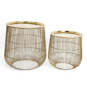 Set of 2 Gold Iron Steel Wire Side End Tables Top Dish Lid Decorative Cage Style