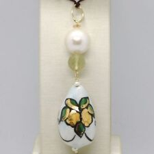 PENDANT YELLOW GOLD 18K 750 WITH PEARL QUARTZ LEMON AND CERAMICS MADE IN ITALY