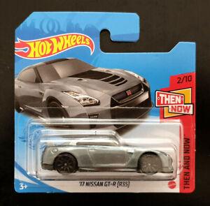 Hot Wheels Mainline Die-cast '17 Nissan GT-R R35 Grey Car, Then & Now Short Card