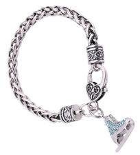 Chain Bracelet for Girls Women Jewelry 3D Adorable Crystal Ice Skate Charm Wheat