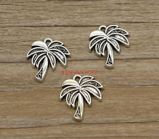 20 Palm Tree Charms Tropical Tree Charms Jewelry Charm Antique Silver 17x20 1057