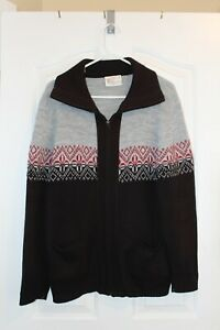 London Fog 100% Virgin Acrylic Sweater Large Zipper with pockets