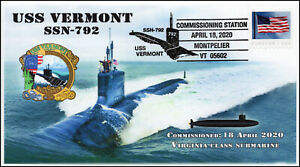 20-079, 2020, USS Vermont, Pictorial Postmark, SSN-792, Event cover, Commissioni
