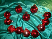 ~ 12 alte große Christbaumkugeln Glas rot Vintage Weihnachtskugeln Tannenbaum