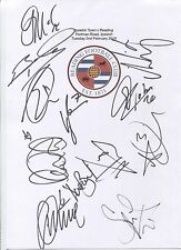More details for an a4 white card with the reading badge. signed by 12 players on 02.02.2016.