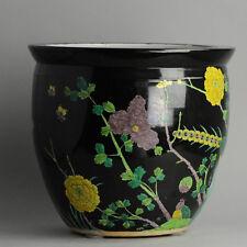 Black And yellow Planter Fish Bowl PRoC Jardiniere Bird Chinese China Porcelain