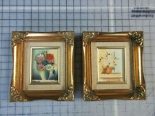 Lot of 2 Vintage Floral Flowers In Vase Oil Paintings in Gold Frames