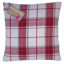 Designer Laura Ashley Highland Check Cranberry Red fabric Cushion Cover