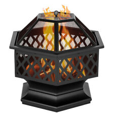 New listing 24'' Fire Pit Metal Wood Burning Bonfire Pit for Outdoor Camping Patio Backyard