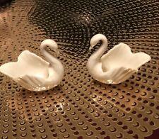 2 Vintage Lenox Swan Trinket Jewelry Dish Figurine