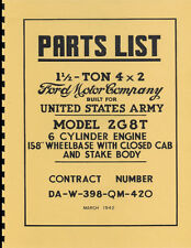 2G8T ~ 1.5 Ton 4x2 Ford Truck ~ Parts List Manual ~ US Army ~ 1942 ~ Reprnt