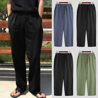 Men's Vintage Casual Trousers Soft Cotton Linen Hakama Loose Fit Pants Bottoms