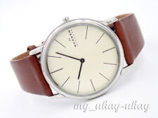 SKAGEN SKW6083 Silver Dial Brown Leather Band Men's Dress Watch