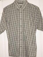 Boys Wrangler Riata Easy Care Button Up Shirt Sz XXL (18-20) Brown White Plaid