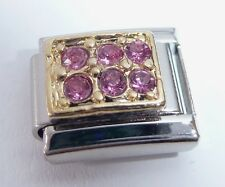 Las gemas de color rosa oro rectángulo italiano encanto 9mm-se adapta Classic pulseras de octubre N84