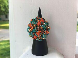 Handmade Mexican Huichol Bead Flower Ring - Anillo Mexicano - Artesanias
