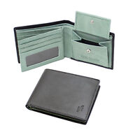 Starhide RFID Mens Real Leather Wallet Photo ID And Coin Pocket 1216 Black Green