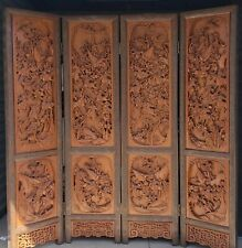 "80""x72"" Chinese Antique Carved Wood 4 Panels Screen Room Divider Art Decorative"