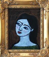 Original Oil Pastel painting Spanish Lady Girl Face Dark Hair Portrait framed