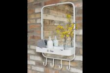 Vintage Style Bathroom Mirror With Shelf & Hooks Cream Distressed Finish Shabby