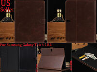 """Dark brown Leather Flip Wallet Stand Case Cover Samsung Galaxy Tab 4 10.1"""" T530"""