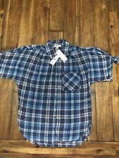 eae55faa24a William Rast Womens Clapton Plaid Top Size M Blue Tie Cut out Sleeves