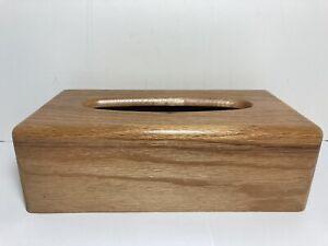 "Wood Kleenex Tissue Box Cover Holder Dispenser Solid Oak Wood 10.75"""