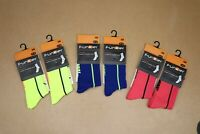 """2 pack Funkier Forano 5"""" cycling Socks N. yell, Blue, coral Sizes 10-13 and 6-9"""