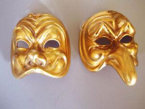 Theatre Male & Female Masks Handpainted Gold Ceramic Fatto A.Venezia Venice