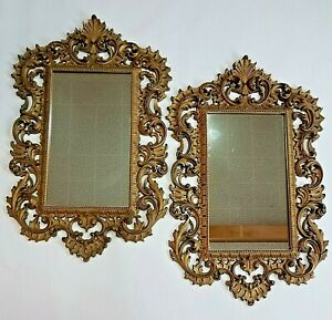 Vintage Pair Hollywood Regency Wall Mirrors Rectangle Rococo French Burwood Prod