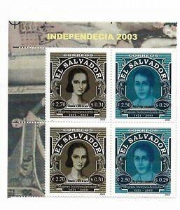EL SALVADOR 2003 WOMEN INDEPENDENCE HISTORY, PAIR IN CORNER BLOCK MNH