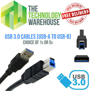 USB 3.0 Cables 1.8m For Printers Docking Stations Monitors- USB-A to USB-B