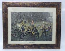 Stampa antica Incorniciata acquerellata a mano 1878