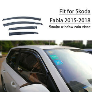 4Pcs Window Vent Visors Rain Guard Sun Shield Deflectors Fit For Skoda Fabia 15+