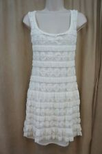 Studio M Dress Sz XS Ivory Sleeveless Detailed Cotton Blend Casual Dinner Dress