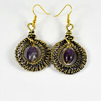 Amethyst Crystals Dangle Earrings Antiqued Wire Wrapped Natural Gemstone
