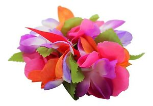 Hawaiian Party Luau Wristband hand Flower Royal Floral Multiple pack Pink Purple