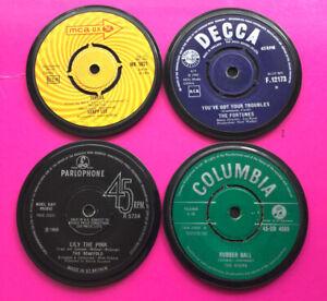 4 Quality, Hand Crafted,  Genuine 1960s Retro Vinyl Record Coasters