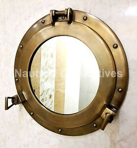 "15"" Vintage Ship Cabin Porthole Window Wall Mirror Ships Beach Home Décor"