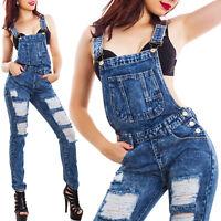 Salopette donna jeans overall skinny tutina intera strappi tagli hot 13241
